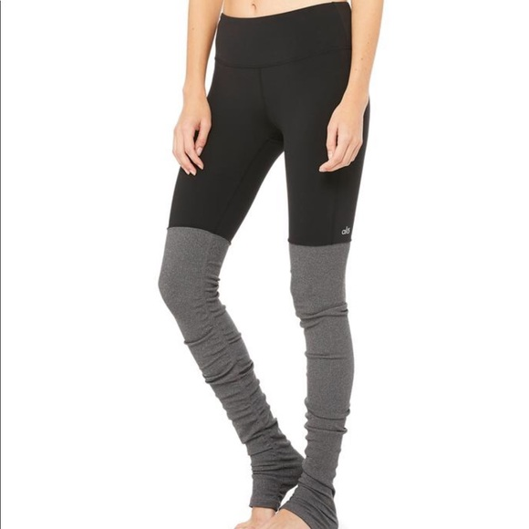 d83975f800127e ALO Yoga Pants | Goddess Black And Grey Leggings | Poshmark